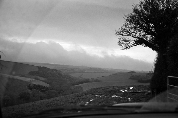 view across Higher Kestle,  still bleak and not feeling spring like at all yet...